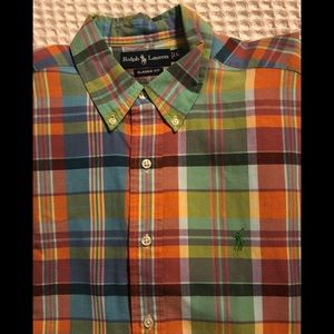 Ralph Lauren Madras Plaid SS Classic Fit Shirt L
